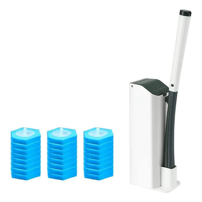 Toilet Wand Kit,Disposable Toilet Brush Set with 24 Disposable Cleaning Refill Heads&Base