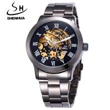 SHENHUA Famous Brand Luxury Black Gold Automatic Sale Wind Watches