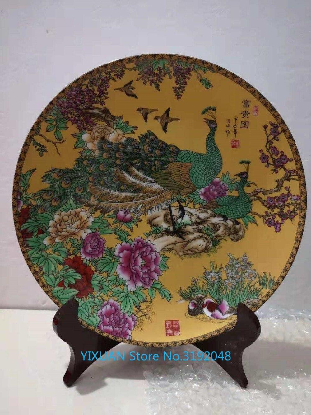 Nuevos productos de porcelana... artesanías... platos... pavos reales y riqueza... platos decorative de adornos y adornos de porcelan