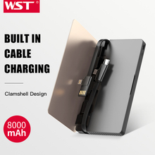WST Original Brand Built In Cable Caricatore Portatile Ultra Thin Power Bank Gold Silver Business Style Portable Battery Pack