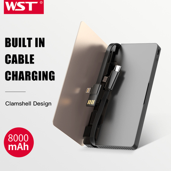 WST Original Brand Built In Cable Caricatore Portatile Ultra Thin Power Bank Gold Silver Business Style Portable Battery Pack фото