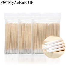 300pcs Disposable Ultra-small Cotton Swab Lint Free Micro Brushes Wood Cotton Buds Swabs Eyelash Extension Glue Removing Tools