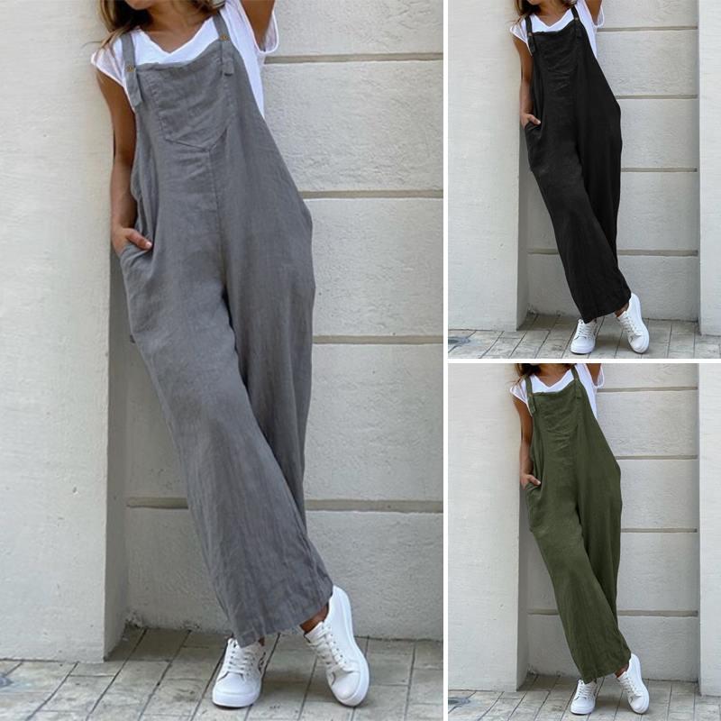 ZANZEA Women Suspender Rompers Overalls 2020 Vintage Cotton Jumpsuits Playsuits Long Pockets Wide Leg Pants Combinaison Oversize