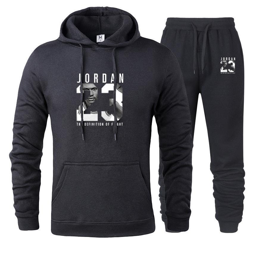 2019 Brand Tracksuit Fashion JORDAN 23 Print Men Sportswear Pullover Two Sets Leisure Fleece hoodies +Pants Sporting Suit Male  (28)