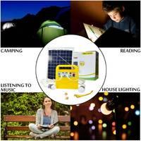 Efficient Solar Power Panel Generator Kit USB Home Charger System + MP3 Radio +2 LED Bulbs Light for Emergency Charging Lighting