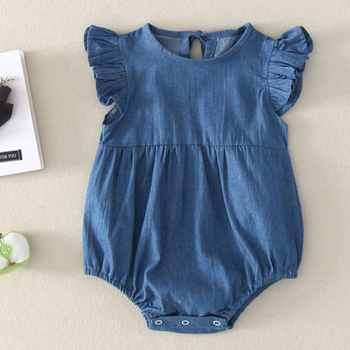 Baby Boys Girls Short Sleeve Denim Rompers Winter Newborn Girls Jumpsuits Infant Bebe Overalls Toddler Clothes