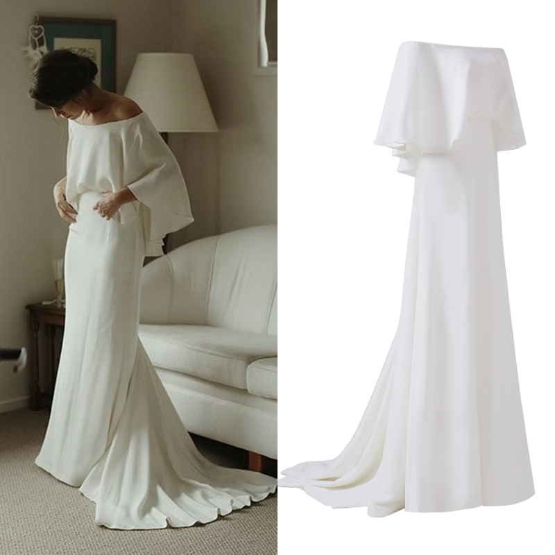 Factory price 100% real SAMPLE photo soft satin simple bridal gown bride wedding dress