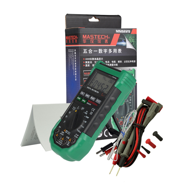 מקורי Mastech MS8229 5 in1 אוטומטי טווח דיגיטלי מודד תכליתי Lux קול ברמת טמפרטורת לחות Tester Meter