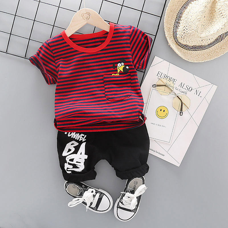 Baby Clothes For Boys Striped T-Shirt + Black Shorts 2PCS Children Boys Set Soft Cotton Infant Kids Clothes From China