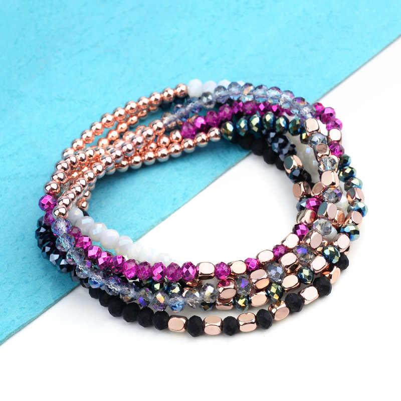 27 cor elástica feminino pulseiras pequena rosa ouro prateado quadrado acrílico redondo hematite facetado cristal grânulos pulseira senhora bc324