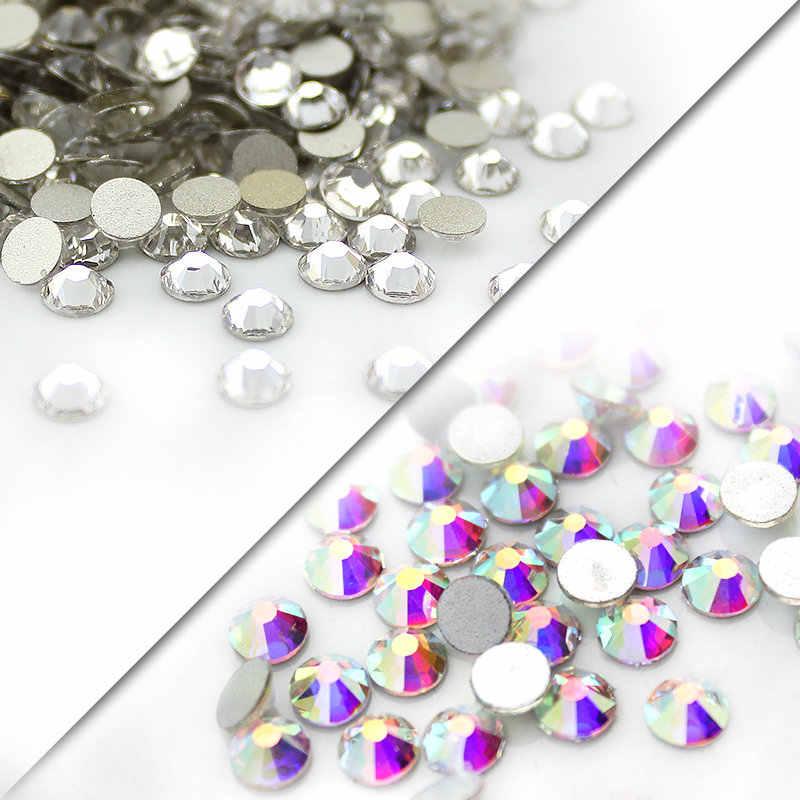 SS3-SS40(1.3 millimetri-8.4 millimetri) AAA strass di cristallo AB clear Non Hotfix flatback Strass per Unghie 3D arte del chiodo della decorazione gemme