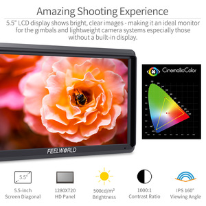 Image 3 - FEELWORLD S55 5.5 Inch IPS on Camera Field DSLR Monitor Focus Assist 1280x720 Support 4K HDMI Input DC Output Include Tilt Arm