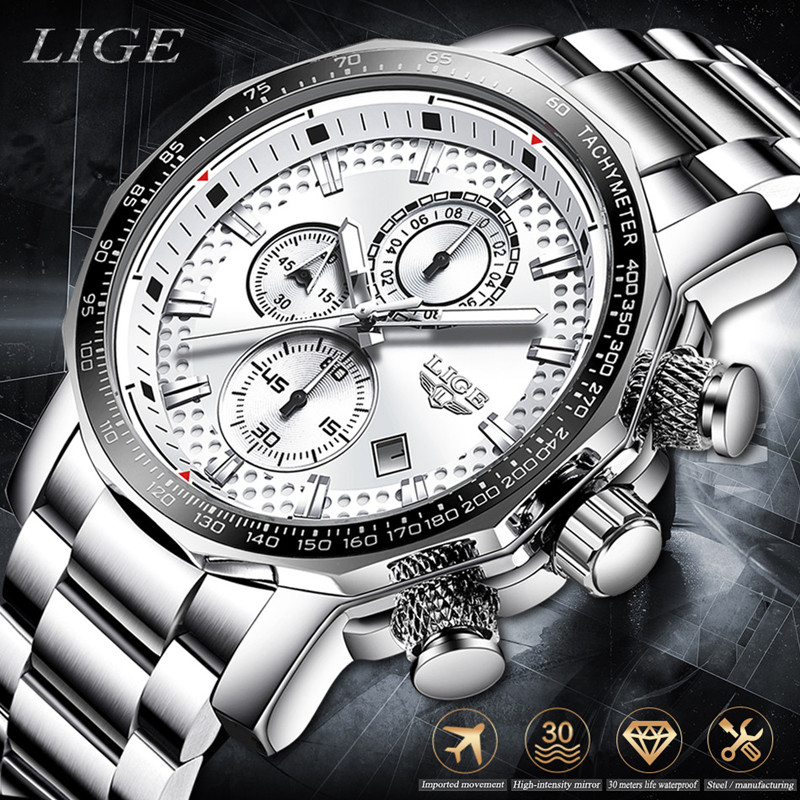 LIGE Stainless Steel Men Watch Male Top Brand Luxury Fashion Business Big Dial Sport Date Waterproof Watches Mens Relojes Hombre