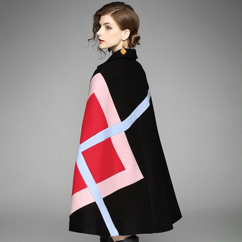 """Осень-зима, женский шерстяной плащ, пончо, шерстяное пальто, подиум, черный, пэчворк, рукав """"летучая мышь"""", твидовый плащ, Толстая теплая верхняя одежда"""