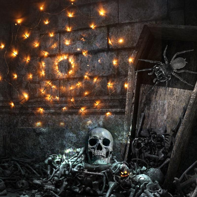 net iluminacao halloween abobora fantasma esqueletos bat aranha led luz corda 05