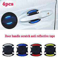 4Pcs Car Sticker Door Handle 5D Reflective Carbon Fiber Decal For Skoda Octavia A5 Fabia Superb Kodiaq Subaru Forester Impreza(China)