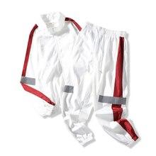 Mens Tracksuit Sportswear-Sets Sweatshirt Pants Patchwork Male Casual Fashion 2pieces