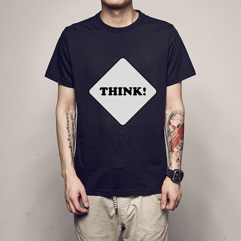 Think!Hip Hop New 2020 Funny Men's T-shirt Print Cotton Summer Short Sleeve O-Neck Tees Male Fashion Shirt Sous Vetement Homme