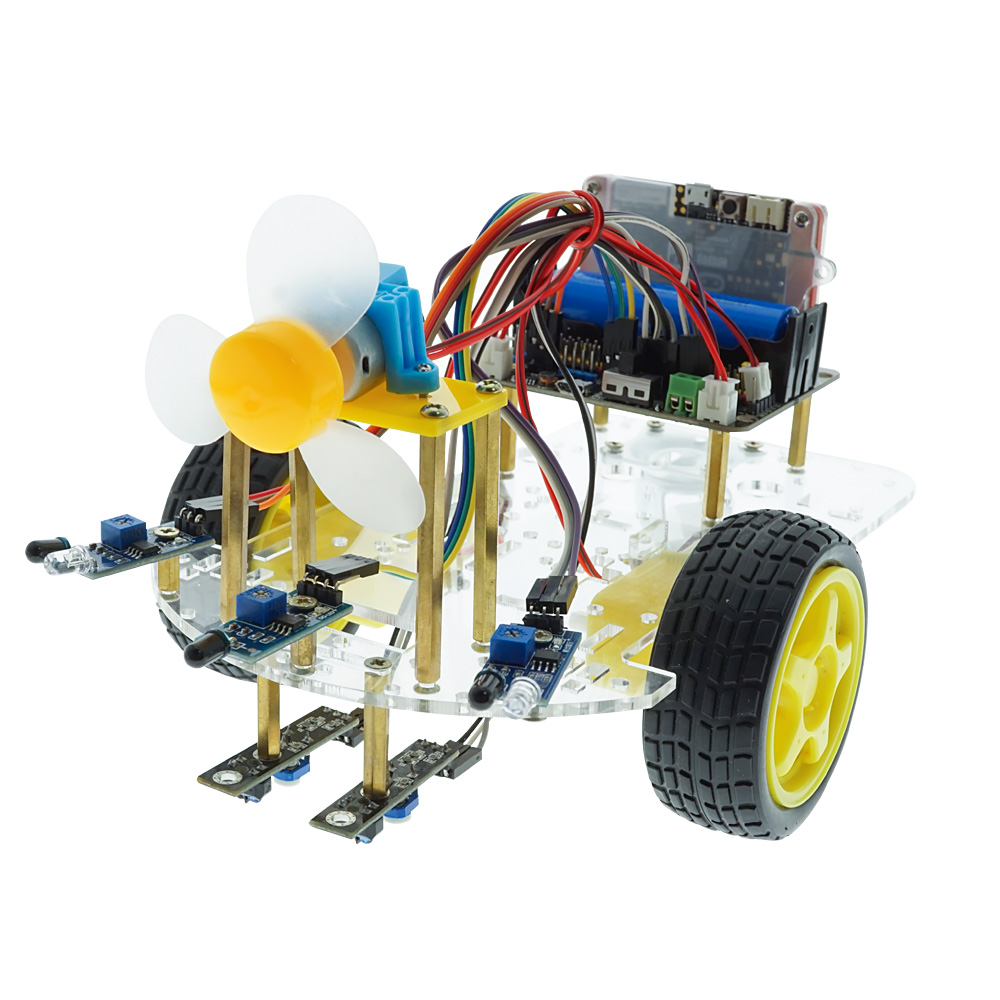 IR Remote Control Fire Fighting Obstacle Avoidance Smart Robot Car Kit For Micro:bit