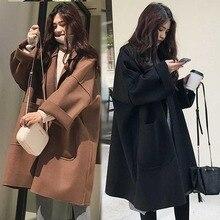 Пальто женское осеннее модное женское пальто цвета кофе корейский стиль шерстяное Женское пальто с карманами Женская Повседневная Верхняя одежда черное пальто