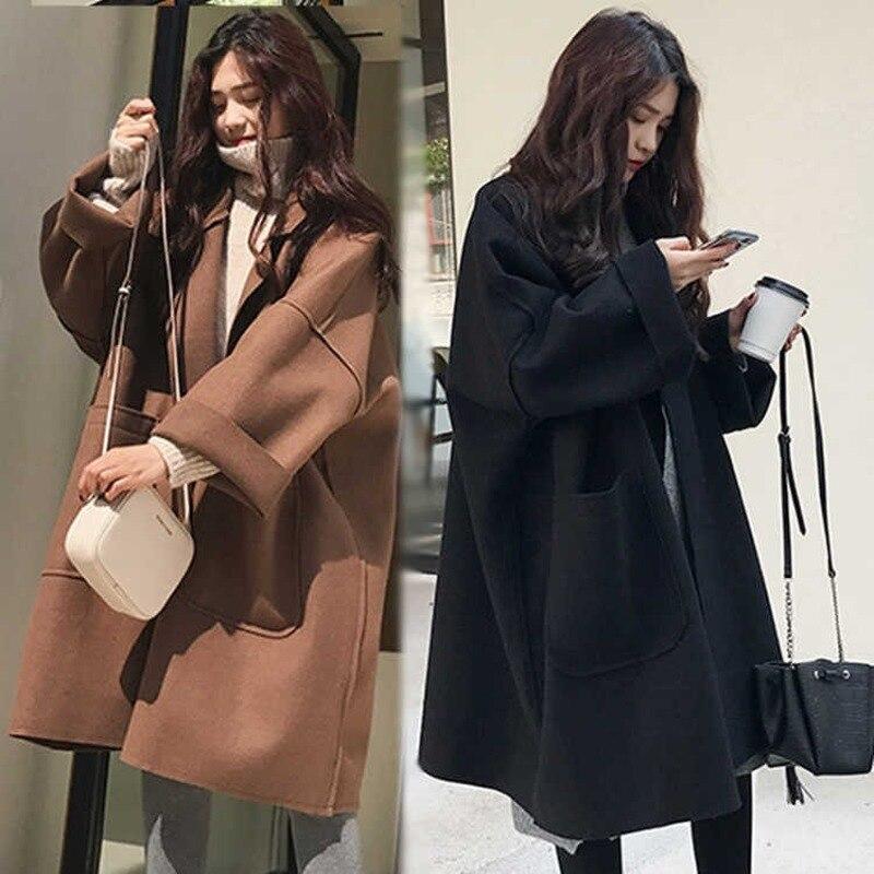 Coat Female 2019 Autumn Fashion Women Coffee Coat Korean Style Pocket Woolen Woman's Coat Ladies Casual Outerwear Black Coat
