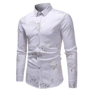 Image 3 - Neue Blumen Druck Shirt Männer Slim Fit Chemise Homme 2017 Luxus Marke Rose Blume Drucken Mens Dress Shirts Camisa Sozialen masculina