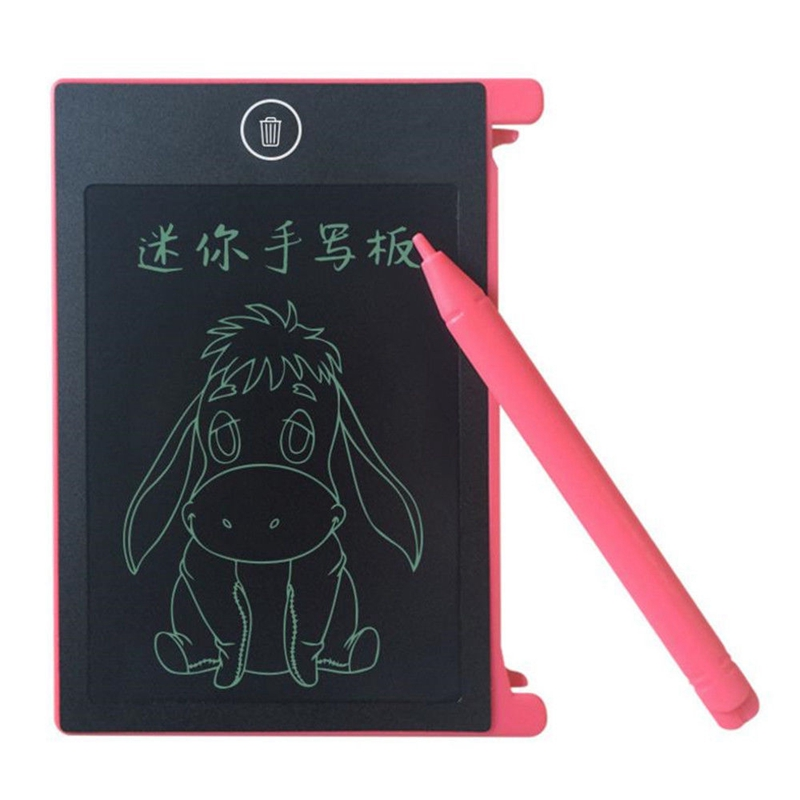LCD Writing Tablet Paperless Memo Pad Writing Drawing Graphics Board 4.4 Inch(pink)