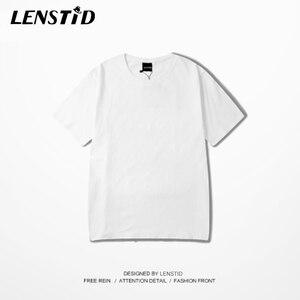 Image 3 - LENSTID Harajuku Plain T Shirt 2020 Estate 100% Degli Uomini Del Cotone Maglietta Bianca Streetwear Casual di Base Manica Corta T Shirt Magliette E Camicette Magliette