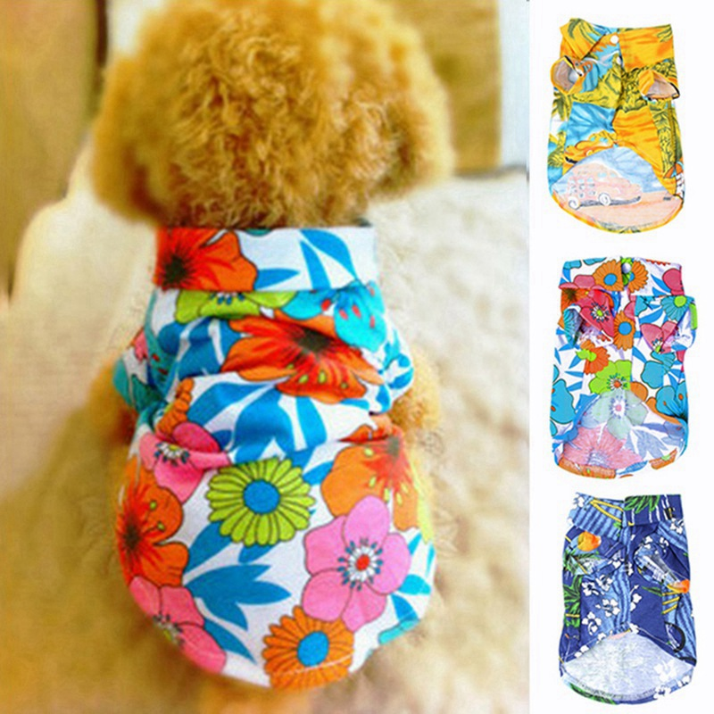 Fashion Dog Shirt Summer Printed Costumes Beach Casual Pet Travel Clothes Dog Clothes Floral Short Sleeve Puppy Kitten Blouse