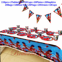 158Pcs/218Pcs Hot Ladybugs Girl Tableware Sets Kids Birthday Party Baby Shower Festival Celebrate Decoration Event Supplies