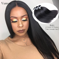 Yaki Straight Brazilian Hair Weave Bundles Coarse Yaki 100% Human Remy Hair Bundles Venvee Hair Products Extensions
