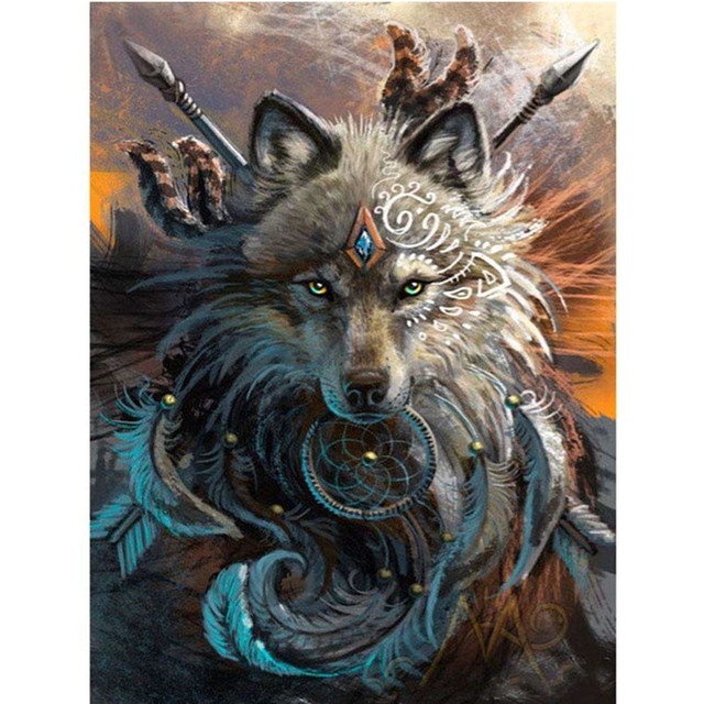 Adult Paint By Numbers Fantasy Wolf Warrior Mythical Beasts