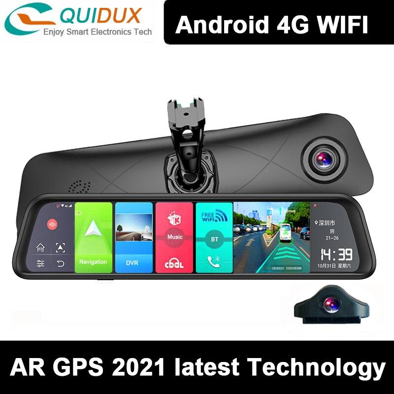 Автомобильный видеорегистратор, 4 Гб + 32 ГБ, 4K UHD, 12 дюймов, Android 8,1, умное зеркало заднего вида, 4G, ADAS, GPS, Wi-Fi, видеорегистратор, видеорегистратор,...