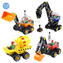 Compatible Brick Big Particle Building Blocks Children Gifts Set DIY Mechanical Engineering Vehicle Deformation Car Bricks Toy