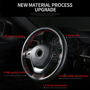 Image 5 - Genuine Leather Steering Wheel Cover with Needles and Thread DIY Braid Car Steering Wheel Cover Suitable For Diameter 37 38cm