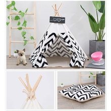 Soft Pet Tent for Dogs Puppy Cat Bed Canvas House Teepee Nest Shed Dog Kennel with Cushion Cute Supplies new