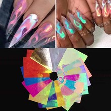 Multicolor Fire Pattern Nail Hollow Sticker Salon 3D Art  Stencil Stickers For