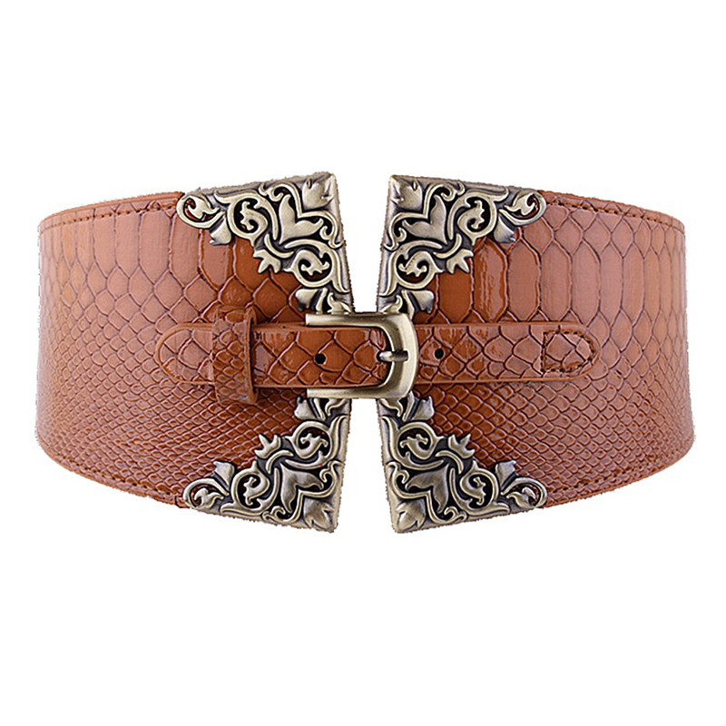 Wide Waist Belt Lady Women Elastic Waistband Corset Waist Belt Retro Metal Buckle Leather Brown Belt On Coat Gifts For Women