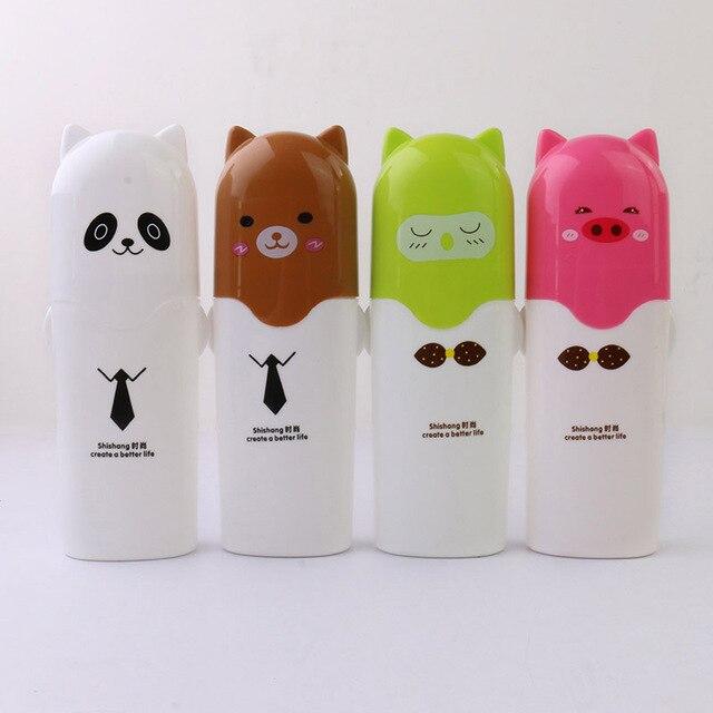 Oso de dibujos animados de pasta de dientes titular de cepillo de dientes de accesorios de baño de viaje portátil cepillo de dientes cubierta Copa organizador de baño