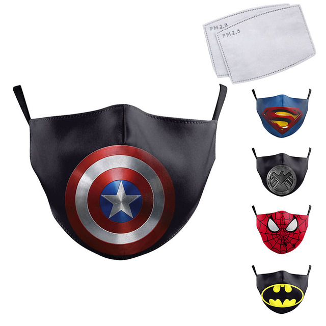 Cute Kids Face Fabric Mask Cartoon Superhero Print Spiderman Captain America Superman Children Fabric Washable Reusable Mask