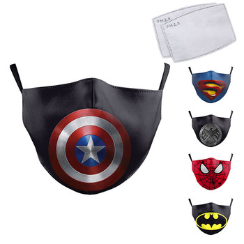 Cute Kids Face Mask Cartoon Superhero Print Spiderman Captain America Superman Children Protective Fabric Washable Reusable Mask