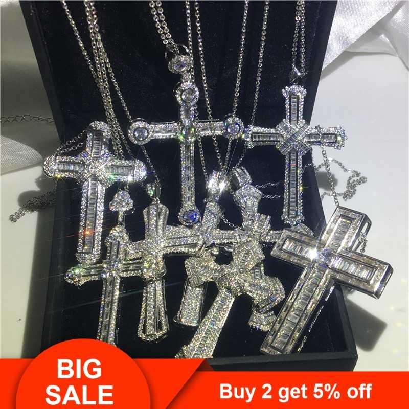 Choucong 22 style luksusowy krzyż wisiorek AAAAA Cz 925 Sterling naszyjnik z wisiorem w kształcie srebrnego krzyża dla kobiet mężczyzn wesele biżuteria