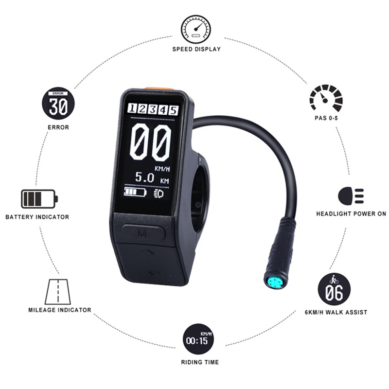 Electric Bicycle Sw102 Lcd Mini Waterproof Speed Controller For Bafang Bbs01 Bbs02 Bbshd Mid Motor