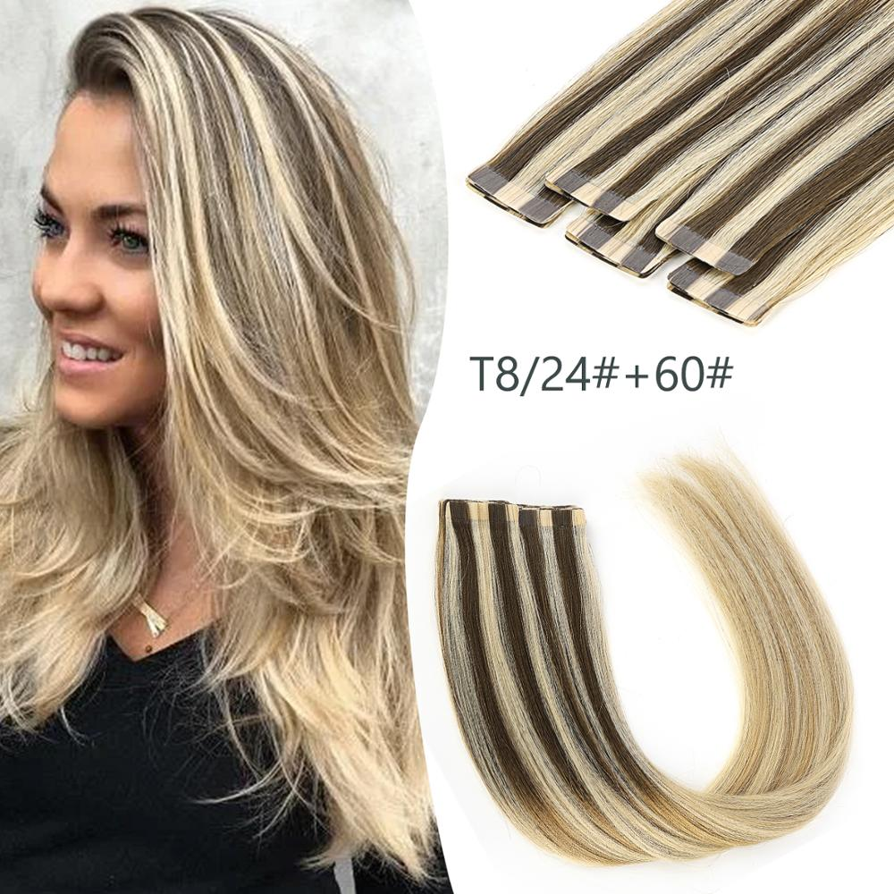 K.S WIGS 20'' 2.5g/pc Seamless Tape In Hair Remy Ombre Human Hair Extensions T8/24+60# Skin Weft Adhesive Hair Extensions