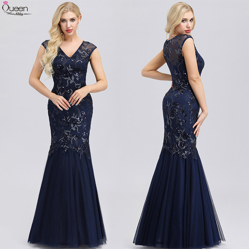 Navy Blue Evening Dresses Queen Abby Long V-Neck Mermaid Floor-Length Elegant Formal Dresses With Sequined 2019