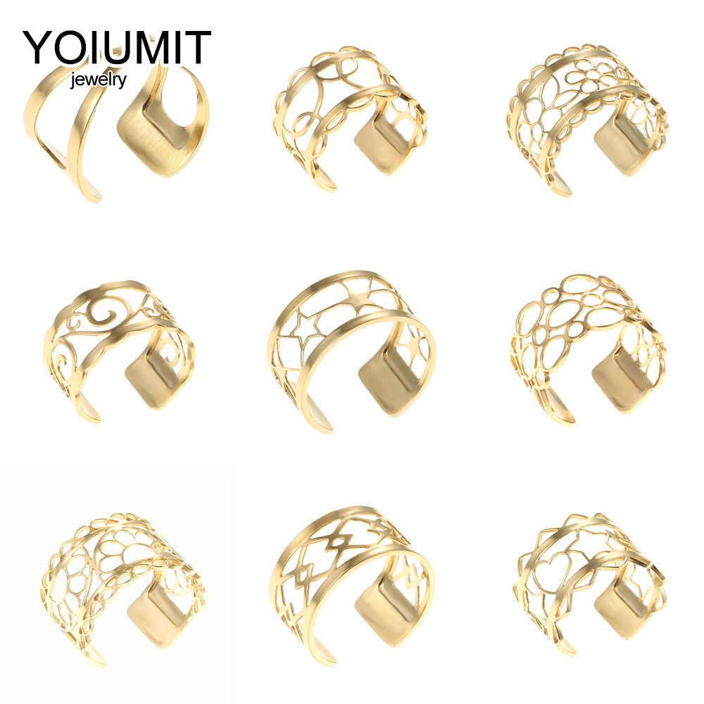 Crem 2019 na moda de aço inoxidável tamanho livre duas linhas anel estilo ouro ajustável couro aniversário anel jóias presente para ela