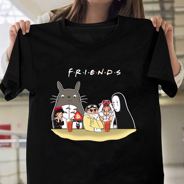 100% Cotton T-Shirt Friends Ghibli Totoro Men Tshirts Oversized TShirt Short Sleeve Shirt Unisex Clothes Cartoon Top Tees Female