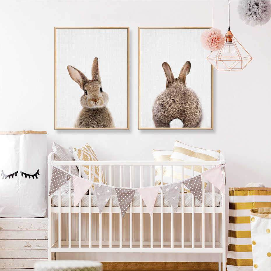 Rabbit BunnyTail Woodland Animal Nursery Decor Flower Canvas Painting Girls Poster Prints Wall Art Picture Kids Room Home Decor