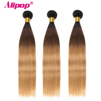 Ombre Brazilian hair Straight 3 Bundles 3 Tone 1B/4/27 Colored Human Hair Weave Bundles Deal Non Remy Hair Extensions ALIPOP