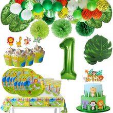 Jungle Party-vajilla con forma de Animal para niños, globos con números verdes, magdalenas, primer cumpleaños, fiesta de Baby Shower, suministros de Safari